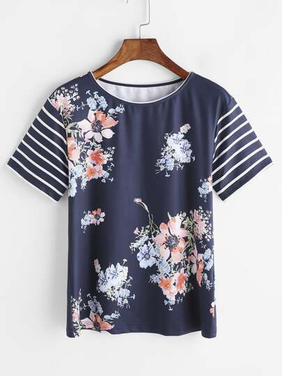 Flower Print Striped Sleeve T-shirt