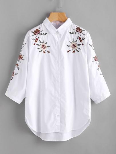 Модная блуза в полоску на кнопках с цветочной вышивкой