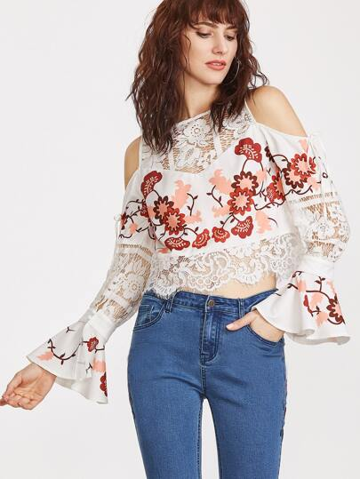 White Flower Print Lace Insert Bell Sleeve Cold Shoulder Top