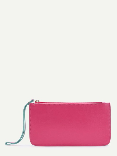 Hot Pink Contrast Trim Zipper PU Wallet