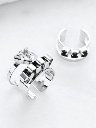 Silver Rhinestone Hollow Out Cuff Ring Set
