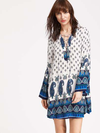 Lace-Up Front Fluted Sleeve Paisley Print Dress