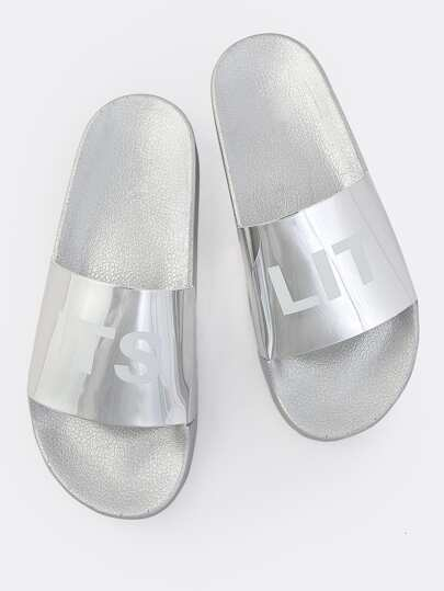 IT'S LIT Metallic Slides SILVER