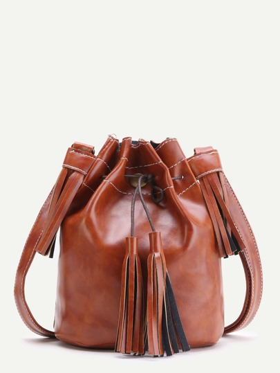 Brown Tassel Detail Bucket Bag