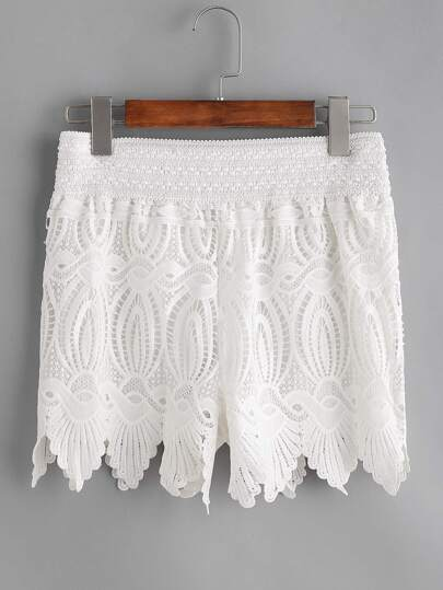 Shorts con cintura elástica de croché con encaje