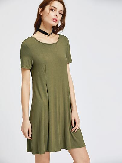 Olive Green Short Sleeve Swing Godet Dress