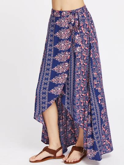 Paisley Print High Low Wrap Skirt