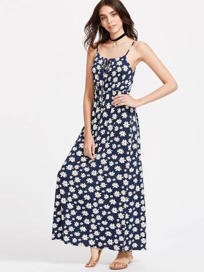 Daisy Print Tie Front Elastic Waist Cami Dress