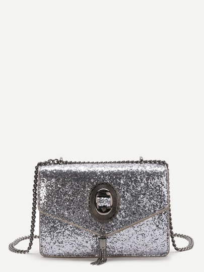 Silver Sequin Overlay Chain Bag With Tassel