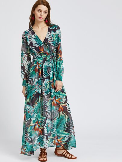 Tropical Print V Neck Chiffon Dress With Belt