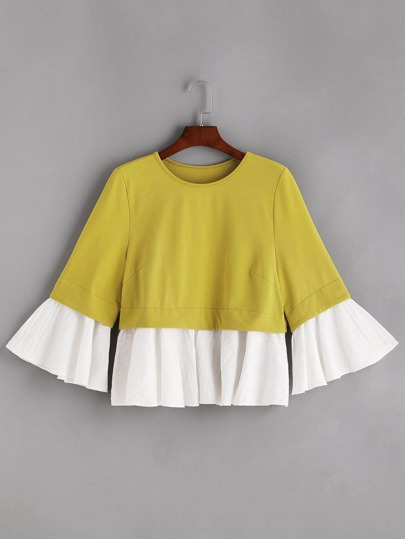 Mustard Contrast Jacquard Ruffle Trim Sweatshirt