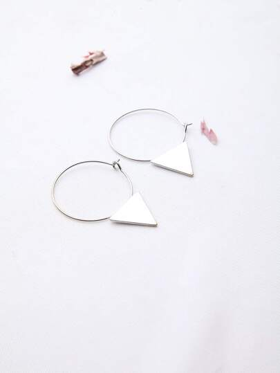 Silver Triangle Detail Hoop Earrings