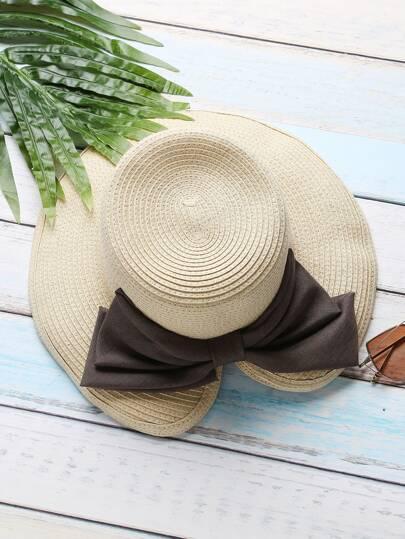 Beige Slit Design Straw Hat With Bow