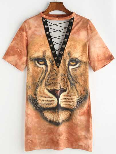 Lion Print Eyelet Lace Up Tee Dress