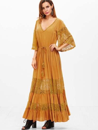 Robe manches Kimono avec de la dentelle taille coulissée - moutarde