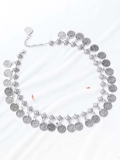 Silver Coin Detail Statement Necklace