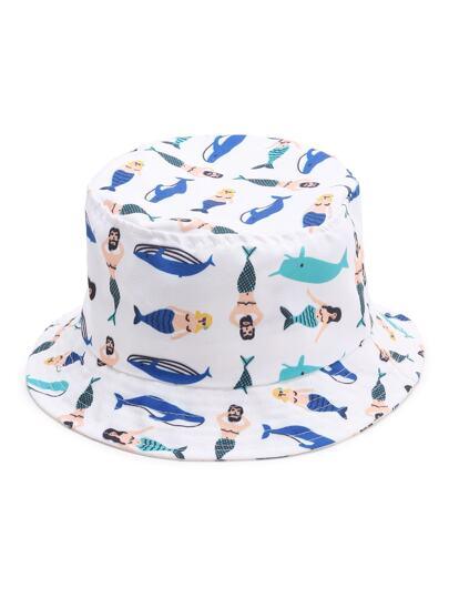 Bianco Stampa cappello largo del bordo