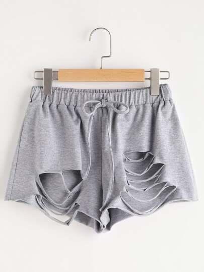 Shorts con cordón con roturas - gris