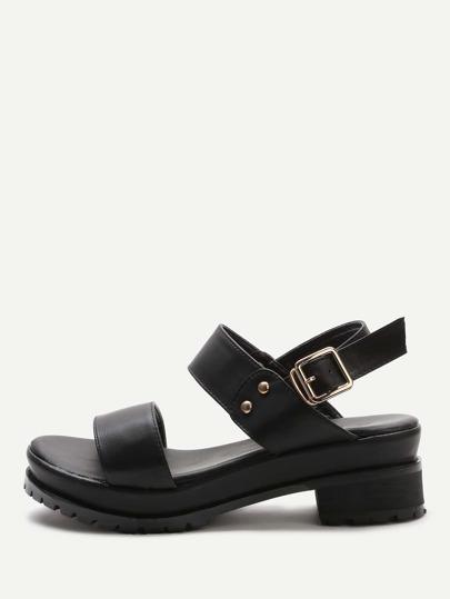 Black Sling Back Cute PU Sandals