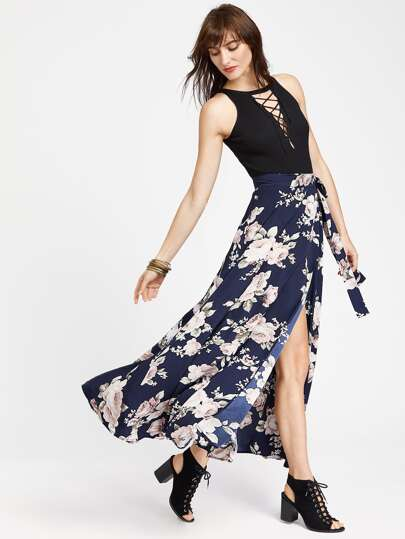 Flower Print Split Wrap Skirt
