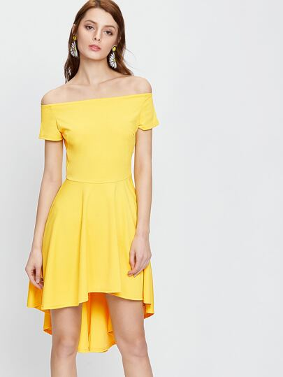 Yellow Off The Shoulder Dip Hem Dress