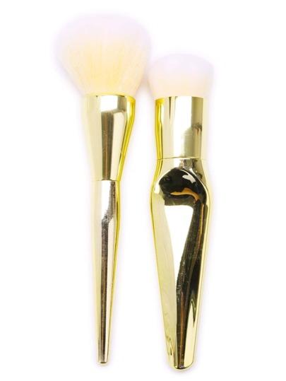 Ensemble de pinceaux de maquillage professionnel en or 2PCS