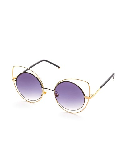 Double Frame Purple Lens Cat Eye Sunglasses