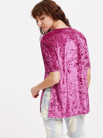 Hot Pink Side Slit Crushed Velvet Tee