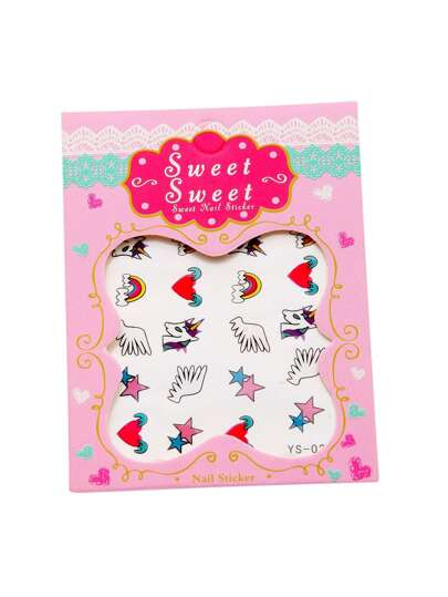 Horse And Heart Pattern Cute Nail Sticker