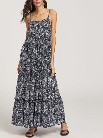 Floral Print Ruffle Trim Tiered Cami Dress