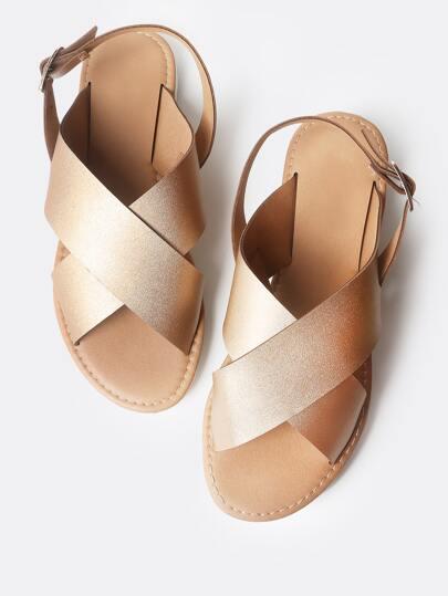 Cross Band Sling Back Sandals ROSE GOLD