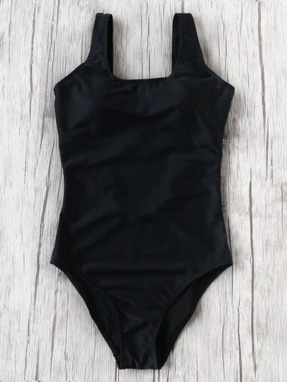 Bañador cuello cuadrado una pieza - negro