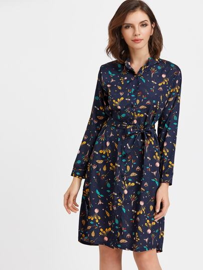Ditsy Print Self Belt Shirt Dress