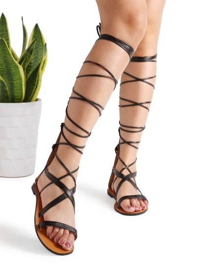 Sandales de gladiateur noir en PU avec le zip