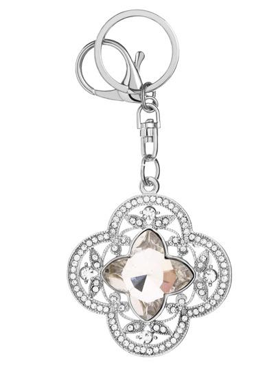 Silberne Rhinestone-Blumen-Form Keychain
