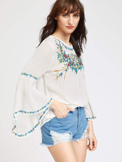 Flute Sleeve Keyhole Back Embroidered Top