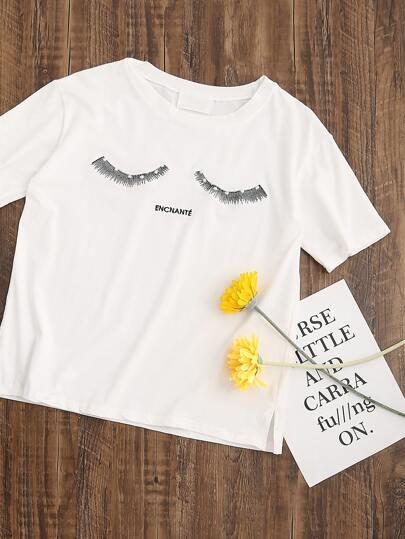 Camiseta con bordado de pestañas y letras - blanco