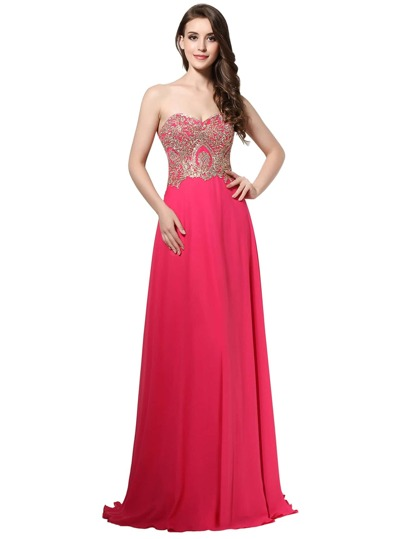 Sweetheart Rhinestone Embellished Chiffon Bridesmaid Dress