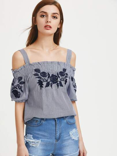 Open Shoulder Pinstripe Embroidered Top