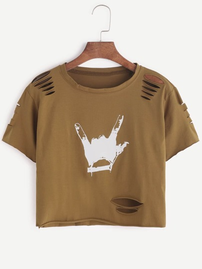 Khaki Gesture Print Ripped Raw Hem Crop T-shirt