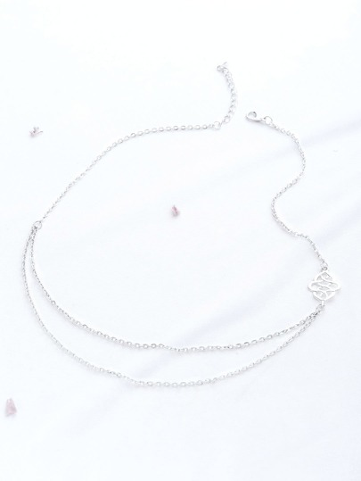 Silver Hollow Out Detail Double Layered Necklace