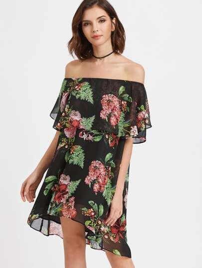 Kleid mit Blumendruck gekräuselte nackten Schultern - schwarz