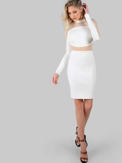 Mesh Panel Long Sleeve Dress IVORY
