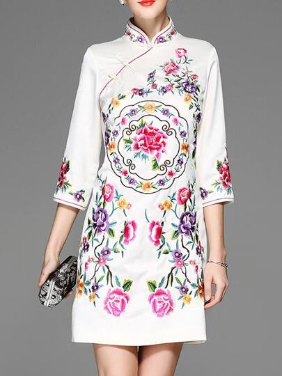 White Flowers Embroidered Sheath Dress