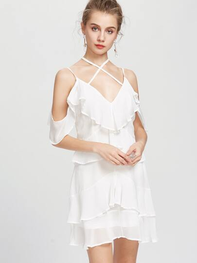Strappy Ruffle Tiered Open Back Dress