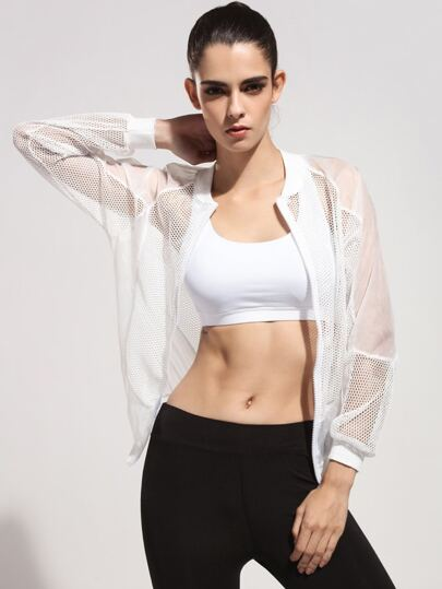 Fishnet Sheer Mesh Gym Jacket