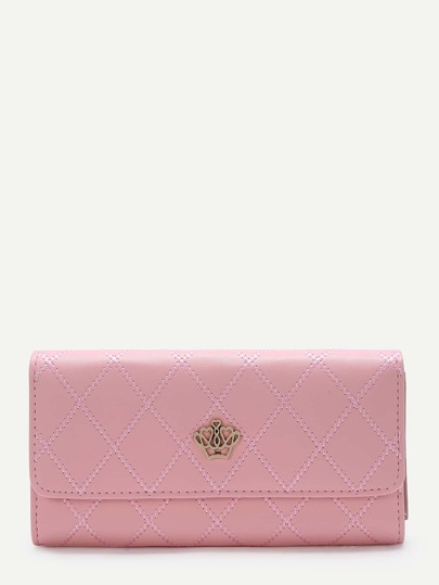 Pink Crown Design Fold Wallet