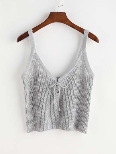 Tie Front Knit Cami Top