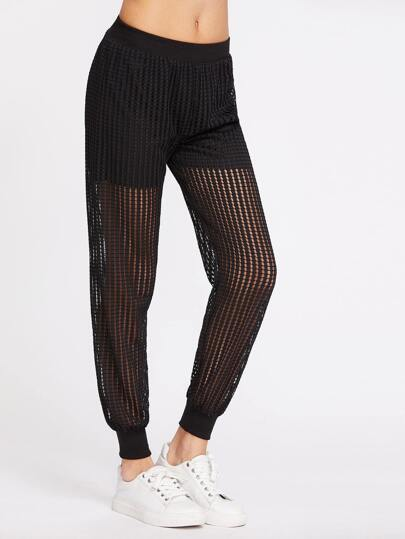 Black Hollow Mesh Overlay Pants