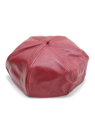 Beret cuoio rosso Faux